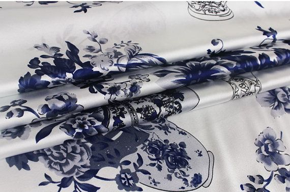 100  elastic silk satin fabric  chinese blue and by xoxoFabric, $36.00