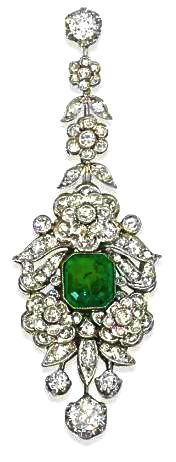Garrad Emerald & Diamond Ear Pendant