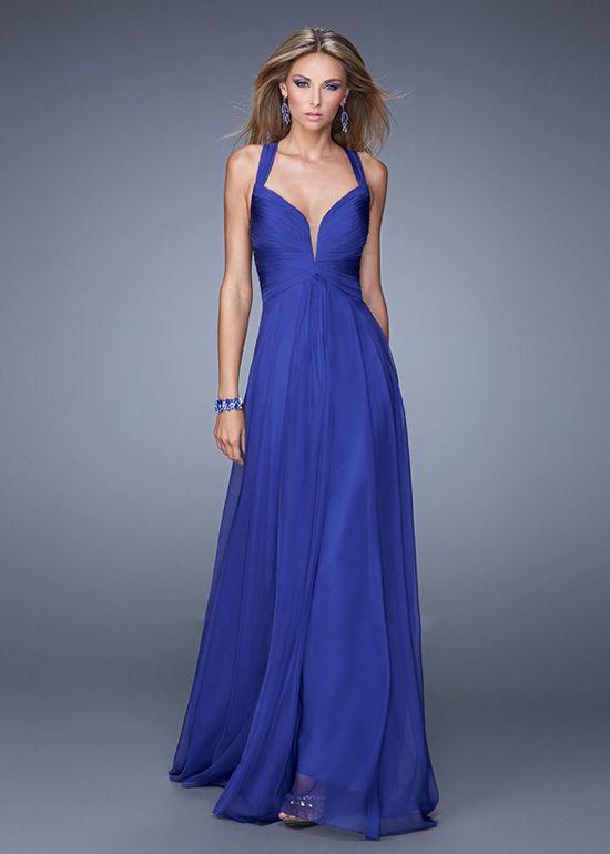Beautiful Indigo Plunging Neck Pleated Bust Straps Back Prom Dress ...