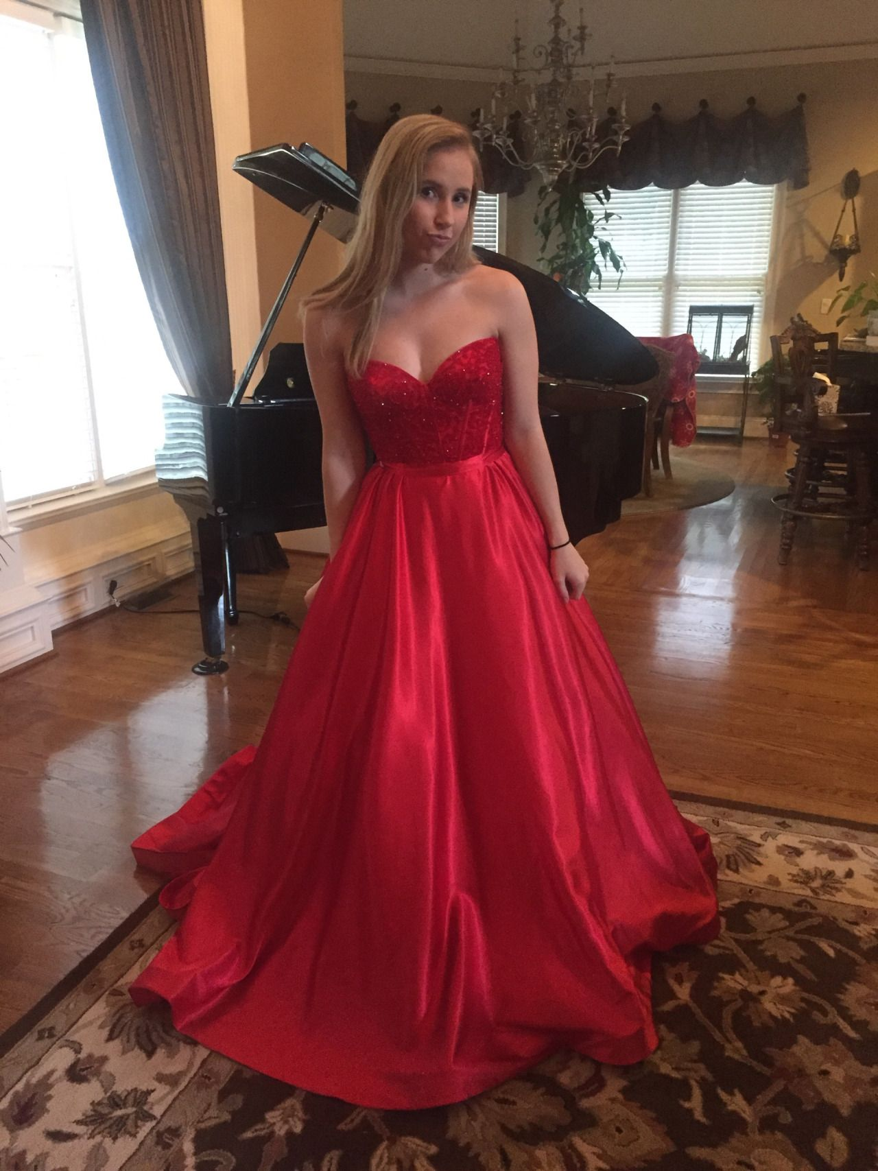 Sweetheart long satin prom dress with beads evening u prom dresses