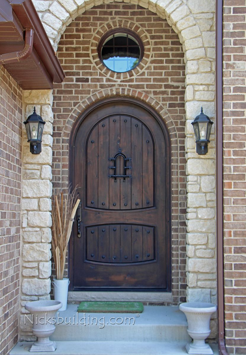 Rustic exterior doors arched round top in knotty alder for Front door arch design