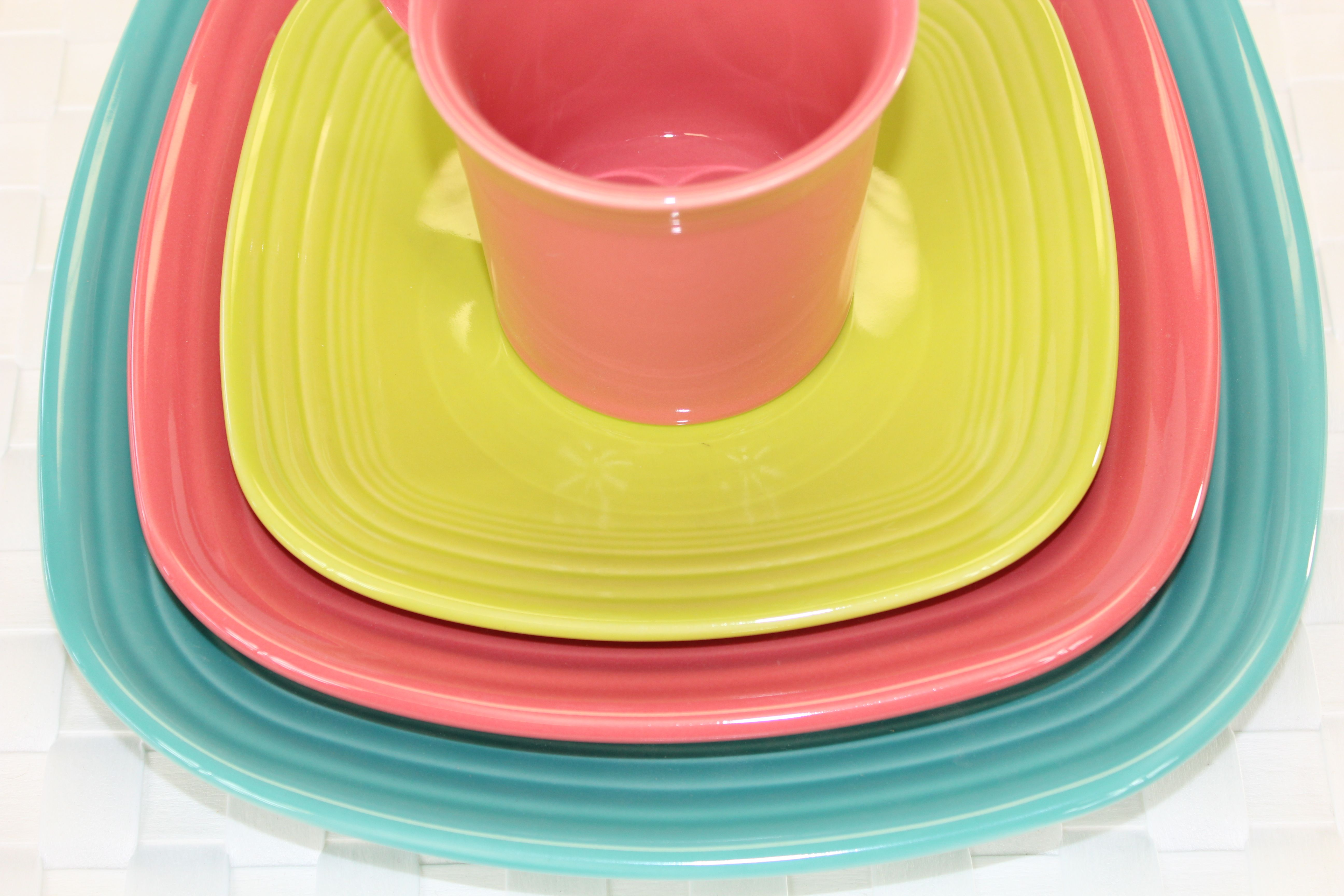 Square Fiesta® Plates in Lemongrass Flamingo and Turquoise. Made by Homer Laughlin China & Square Fiesta® Plates in Lemongrass Flamingo and Turquoise. Made by ...