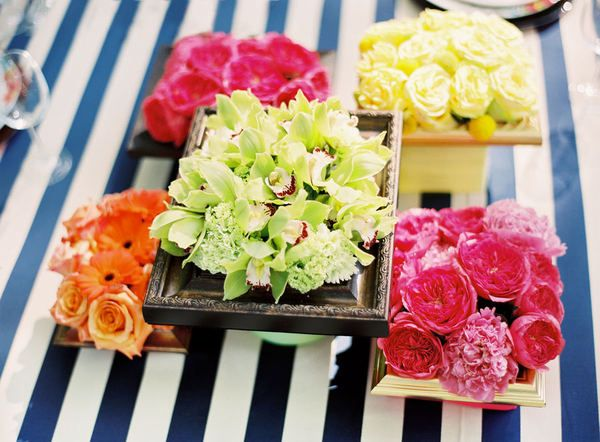 vibrant idea yellow picture frames. Vibrant centerpiece with vintage photo frames  fun idea Wedding Details and