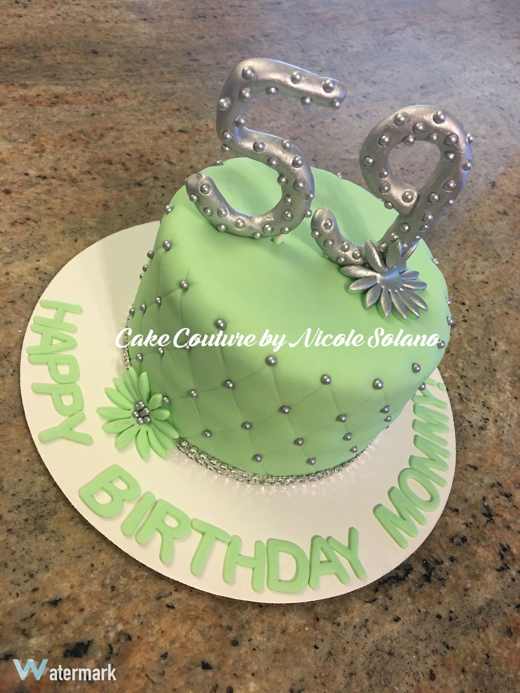 Green 59th Birthday Cake For Mom With Images Mom Cake