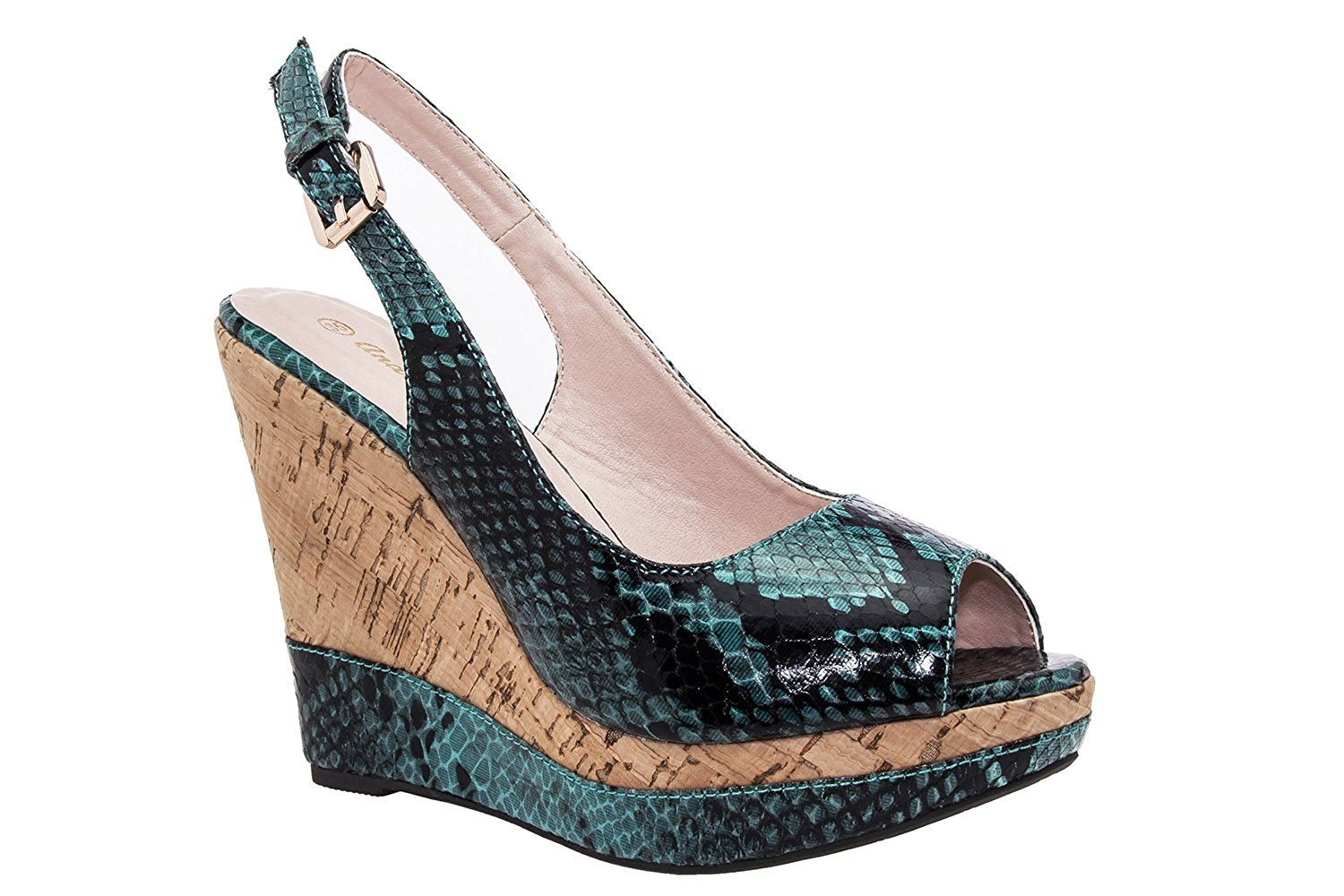 AM5011 - Andres Machado - Glam Snake Print Slingback Wedges. Small and Large sizes. ** Continue to the product at the image link. #sandals