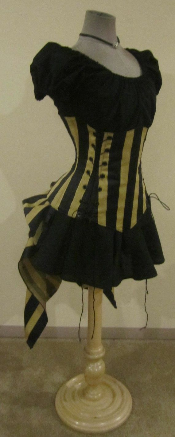 Sassy - Black and Pale Gold Tan Stripe Corset, Puff Sleeve Top, Mini Skirt, and Add-A-Bustle