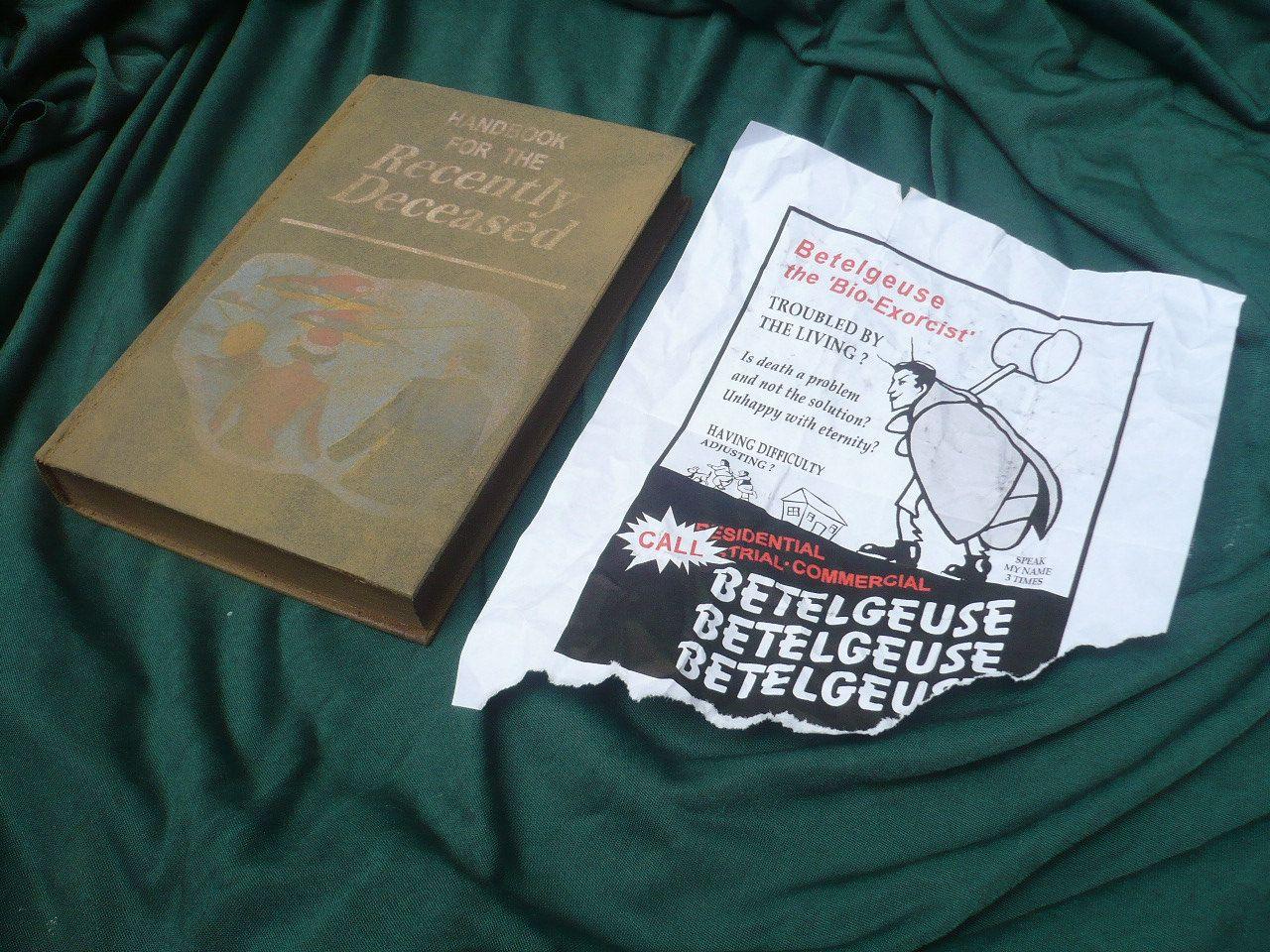 Beetlejuice Handbook for the Recently Deceased prop replica WITH Flyer. $24.50, via Etsy.