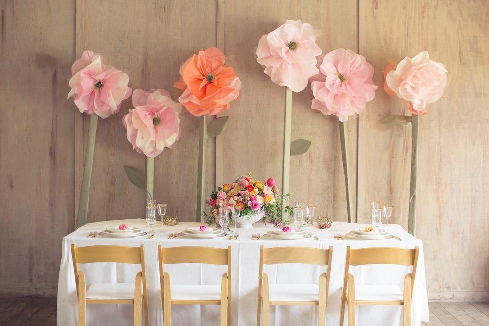 Head Table Setup Giant Paper Flowers Easy Weddings Uk Easy