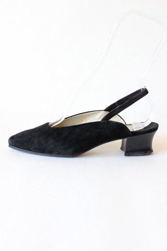 Vintage Joan   David Black Suede Low Heel Slingbacks