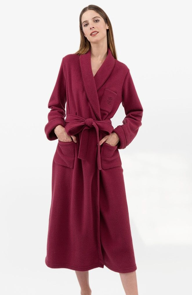 Ladies Extra Warm Dressing Gown with 3 Pockets - Grape , Dressing ...
