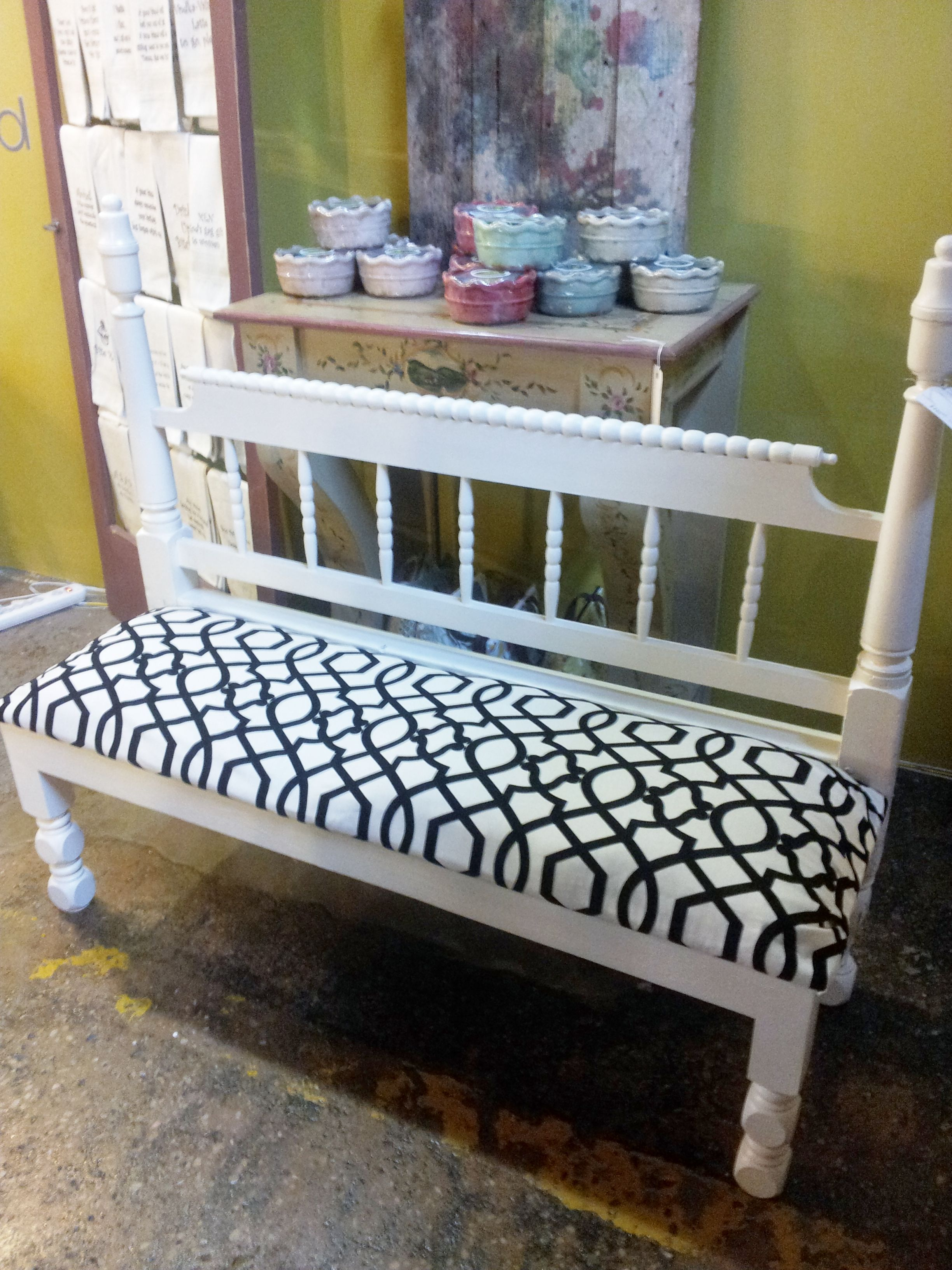 Upcycled bed rail cushioned bench 1920s home decor