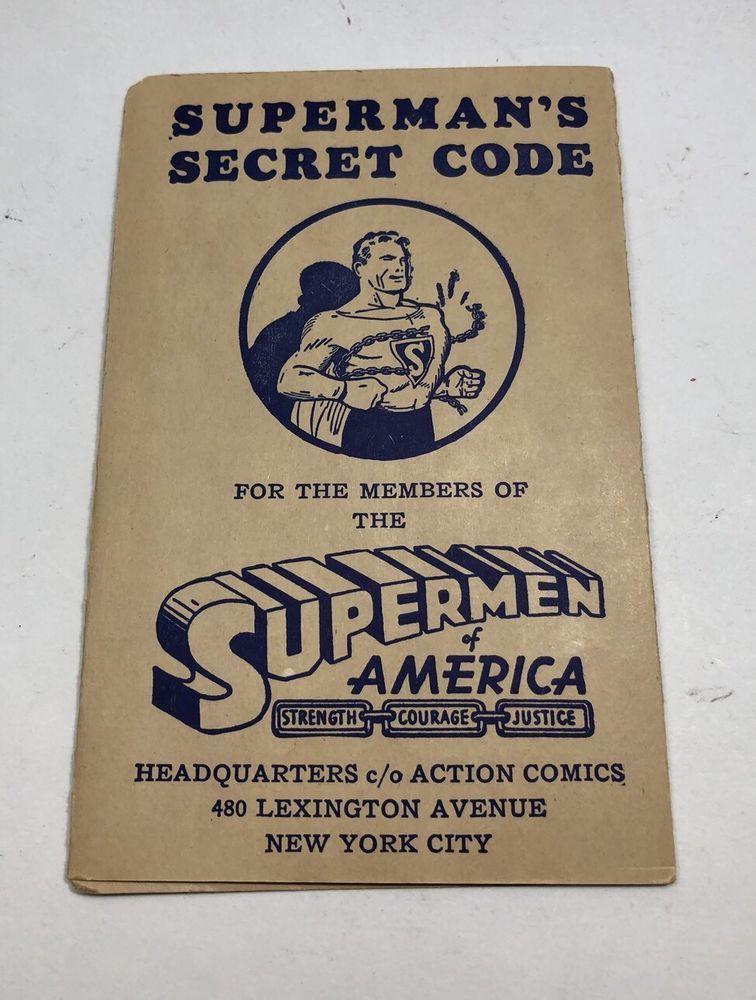 Vintage Superman Secret Code Book Supermen Of America FREE