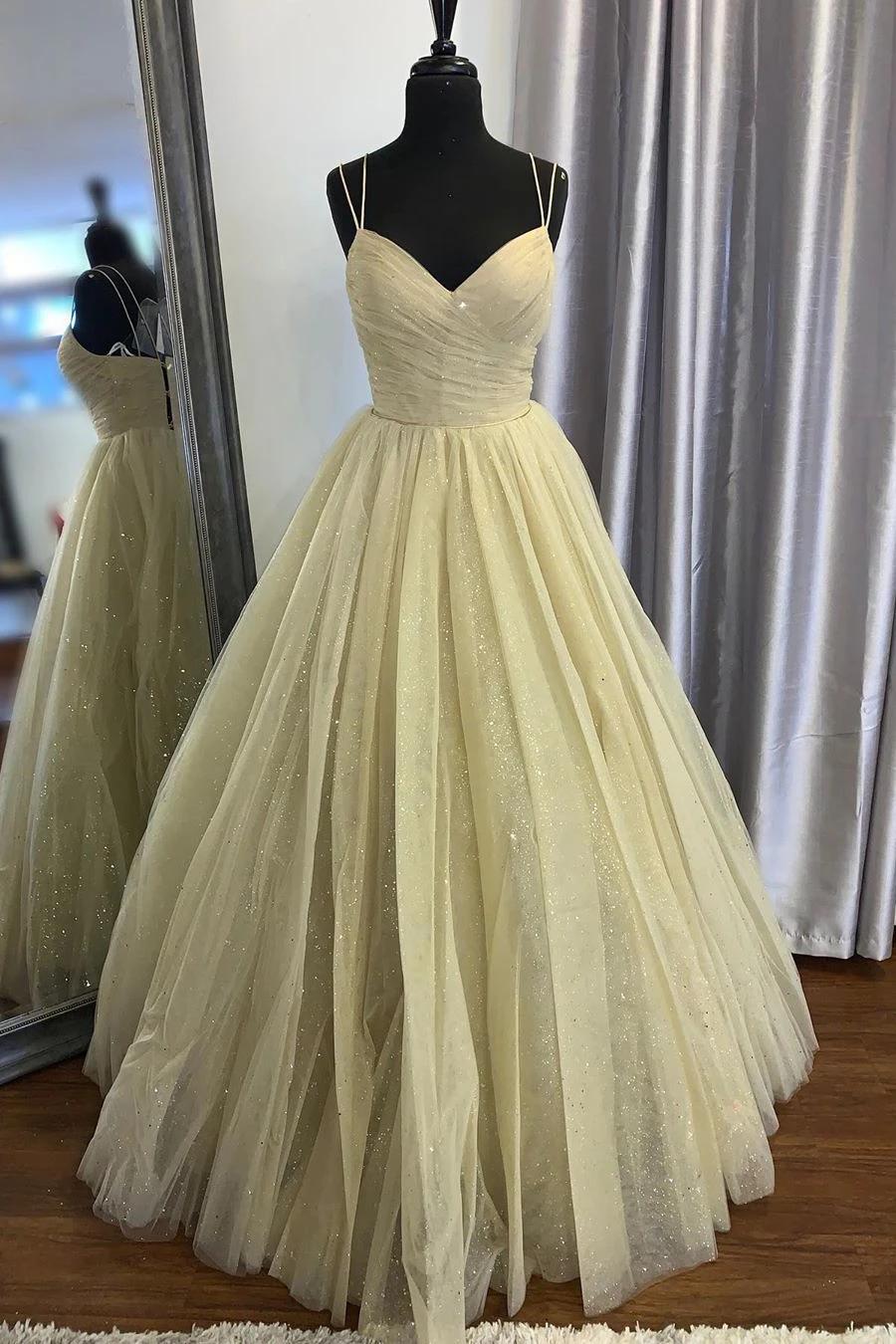 Elegant Spaghetti Straps A Line Yellow Long Prom Dress Prom Dresses Yellow Formal Evening Dresses Glitter Prom Dresses [ 1350 x 900 Pixel ]