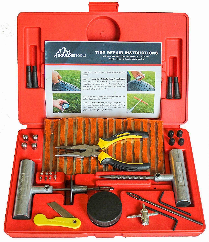 Boulder tools 56 pc heavy duty tire repair kit for car