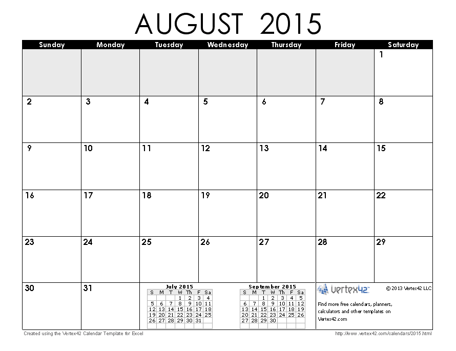 Download A Free August 2015 Calendar From Vertex42 Flowers