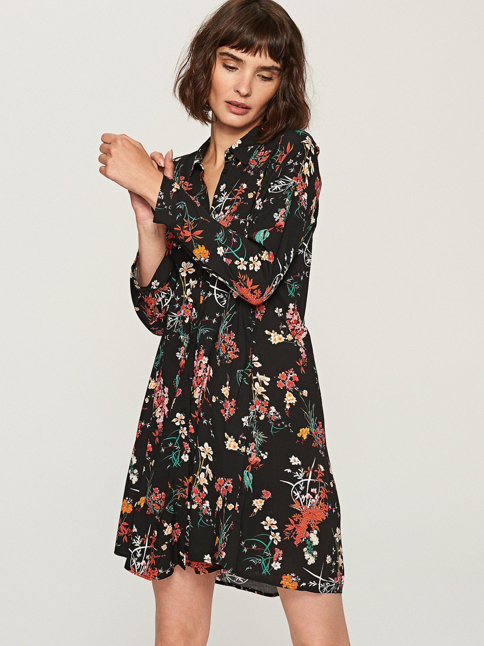 Reserved Sukienka Wzorzysta Kwiaty Guziki 38 M 7119347130 Oficjalne Archiwum Allegro Dresses Casual Dress Fashion