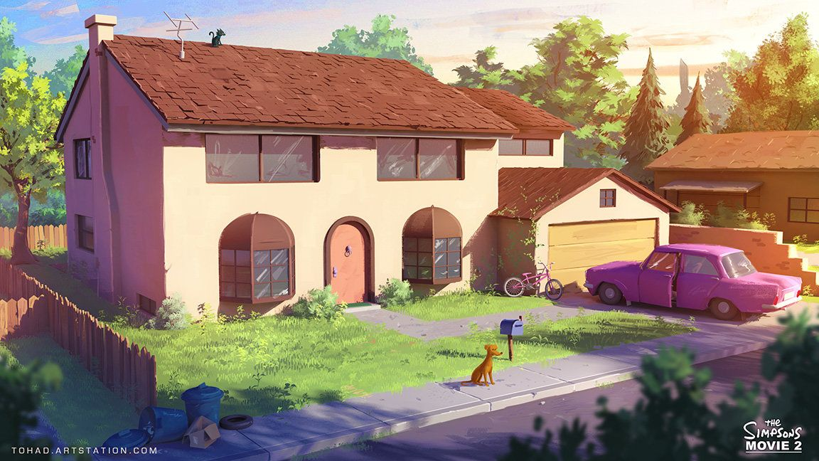 The Simpsons Movie 2 environment design, Sylvain Sarrailh on ArtStation at https://www.artstation.com/artwork/the-simpsons-movie-2-environment-design