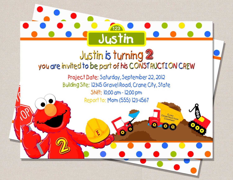 Elmo Construction Birthday Invitation | M&N\'s 2nd Birthday ...