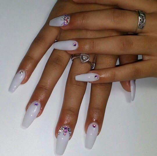 Milk White Nail Polish With Swarovski Crystals Blinged Nail Design Nails Design With Rhinestones White Nails Bling Nails