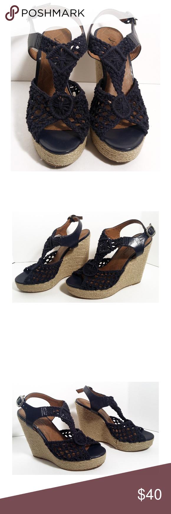 3533480602a Lucky Brand Rilo Crochet Platform Wedge Sandals- 6