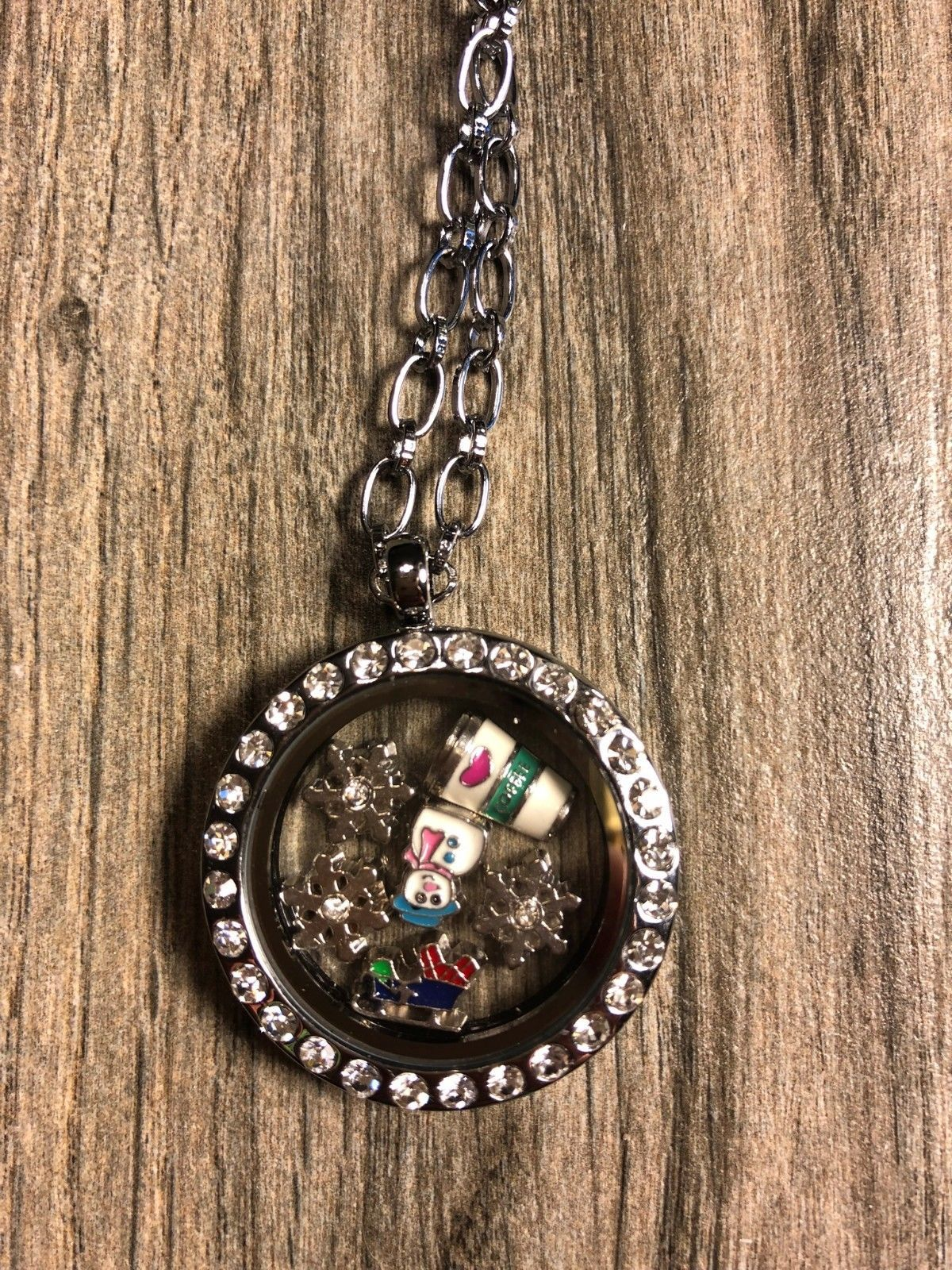 Charm Silver Crystal Floating Charms Locket Mom Mother Living Memory Necklace