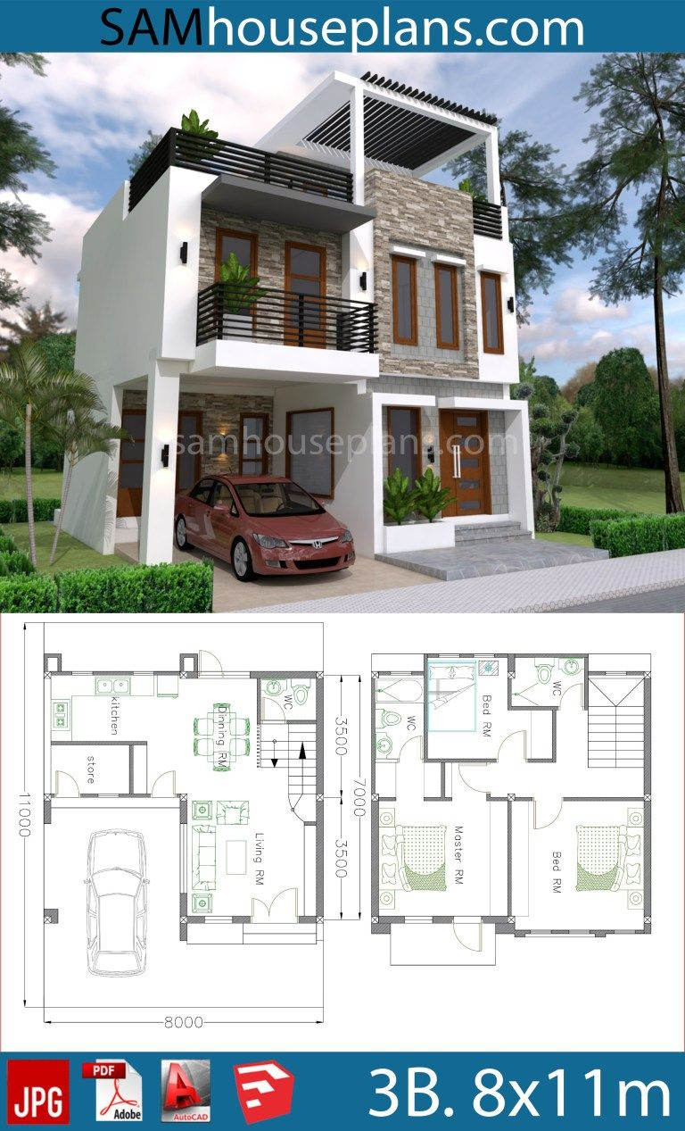House Plans 8x11m with 3 Bedrooms in 2020 | Affordable ...