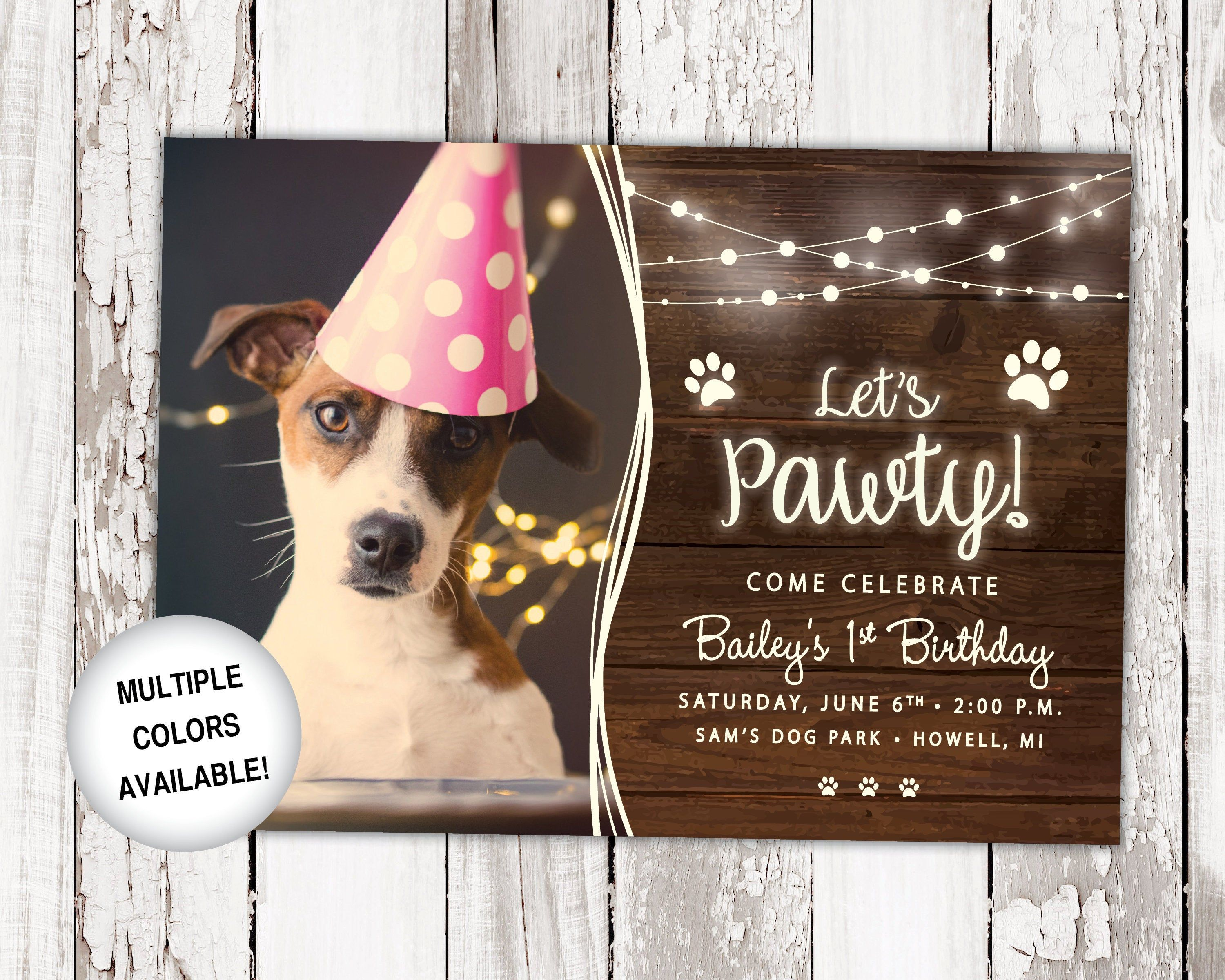 Dog Birthday Party Invitation With Photo Let S Pawty Etsy Dog Birthday Party Invitations Dog Party Invitations Puppy Birthday Invitations