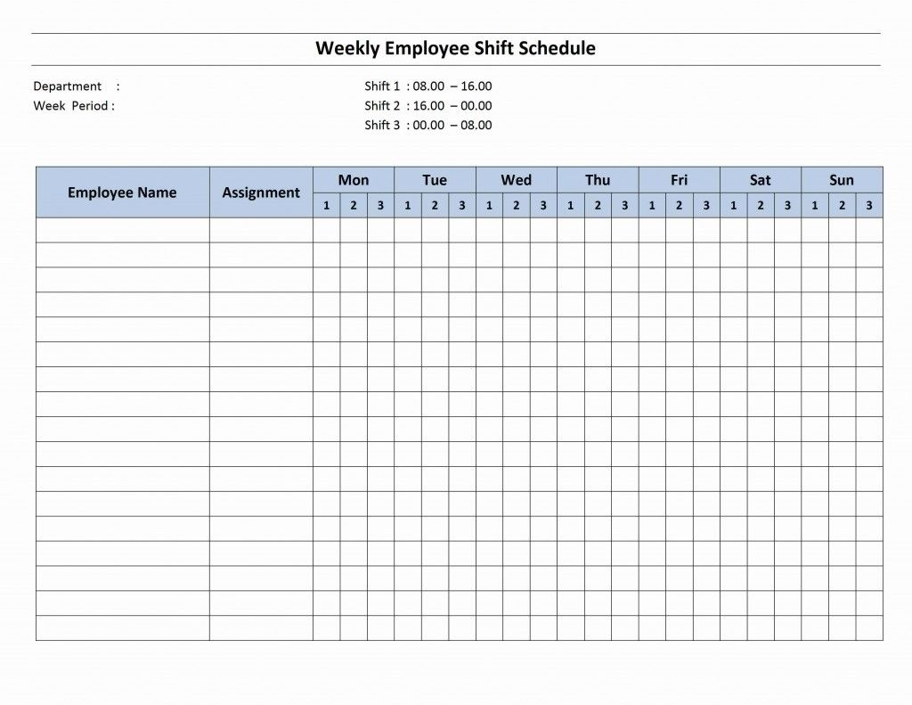 7 Day Employee Schedule Template