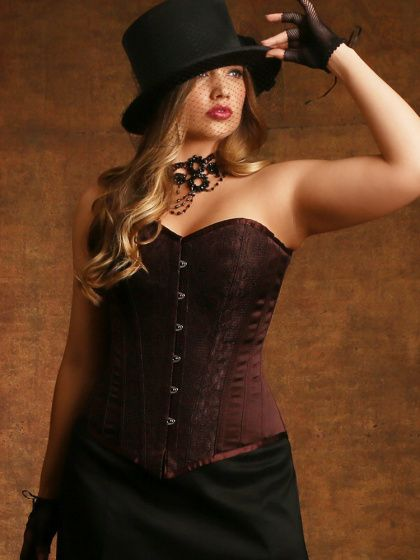 611ad7cc2efa9 Plus Size Justine Steel Boned Corset with Halter Straps