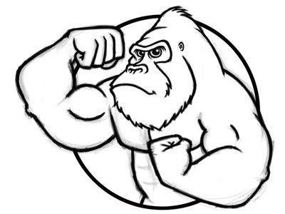 Gorilla Bodybuilder Cartoon Character - Rough Sketch by ...
