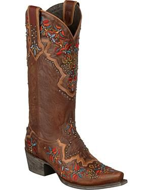 c744d56409e99 Lane Glitz and Glamour Cowgirl Boots - Snip Toe  Premium leather  construction. Decorative embroidery across entire boot. Side pull tabs.