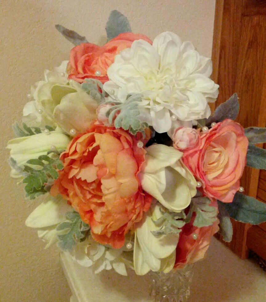 Gorgeous Wedding Bouquet Filled With Real Looking Silk Roses And