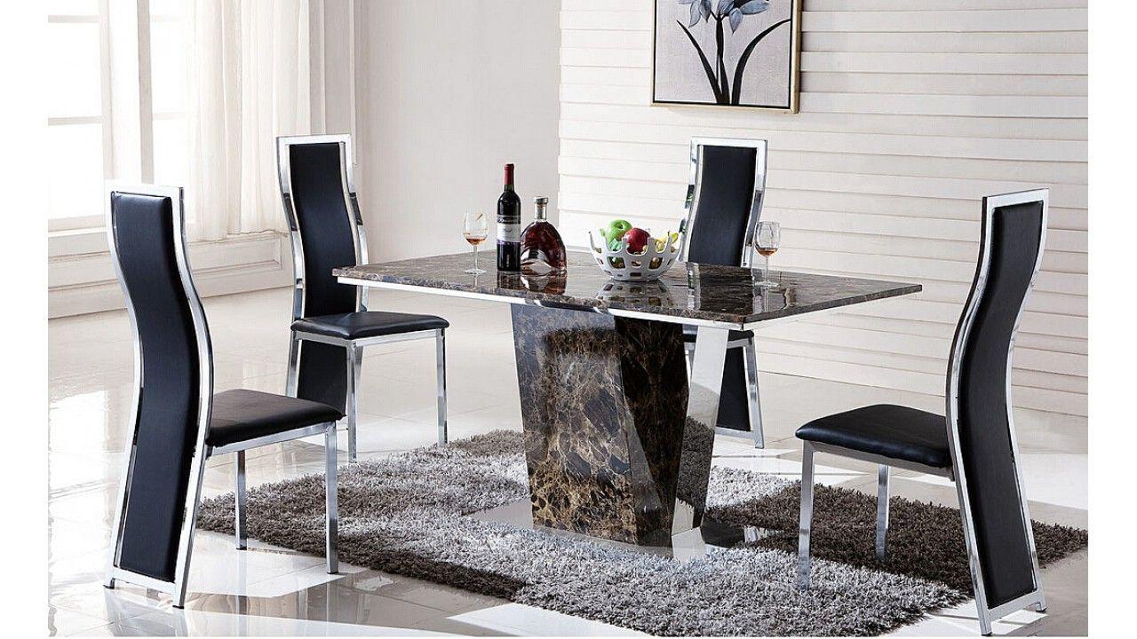 Juego de comedor 6 sillas y mesa con base acero for Sillas de comedor elegantes