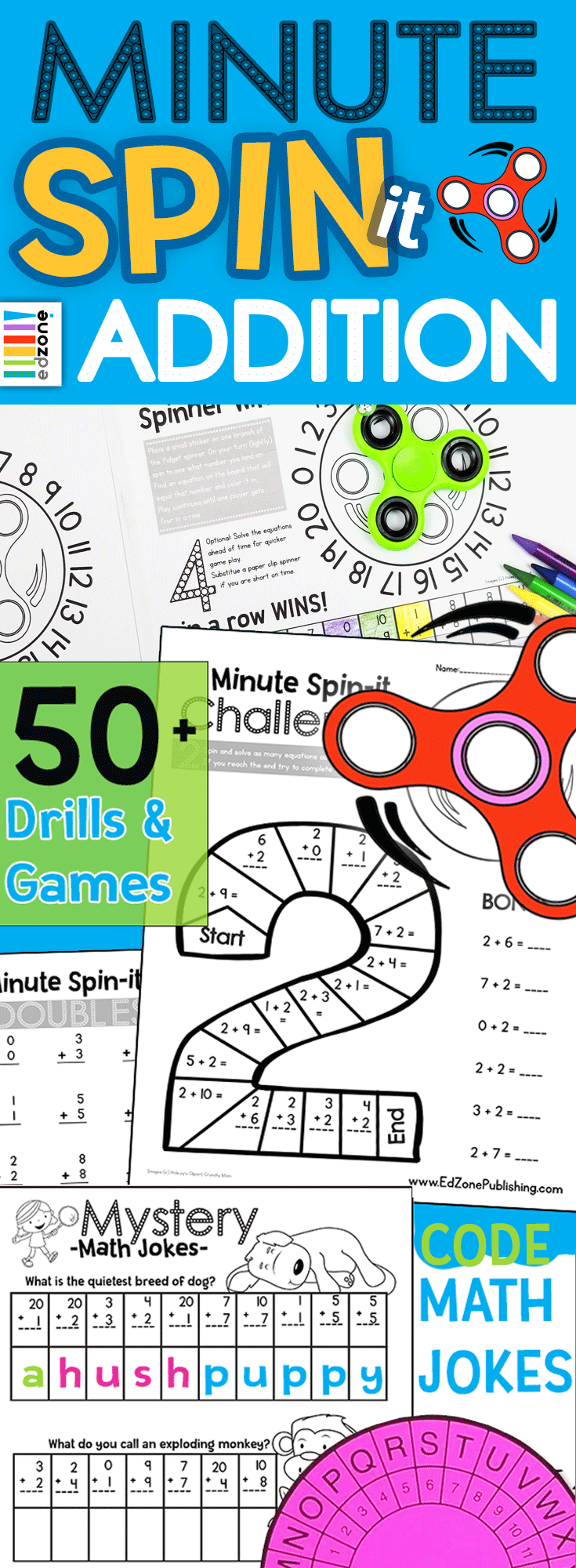 No more boring Math Drills! Beat the Fidget Spinner! This 50+ page ...