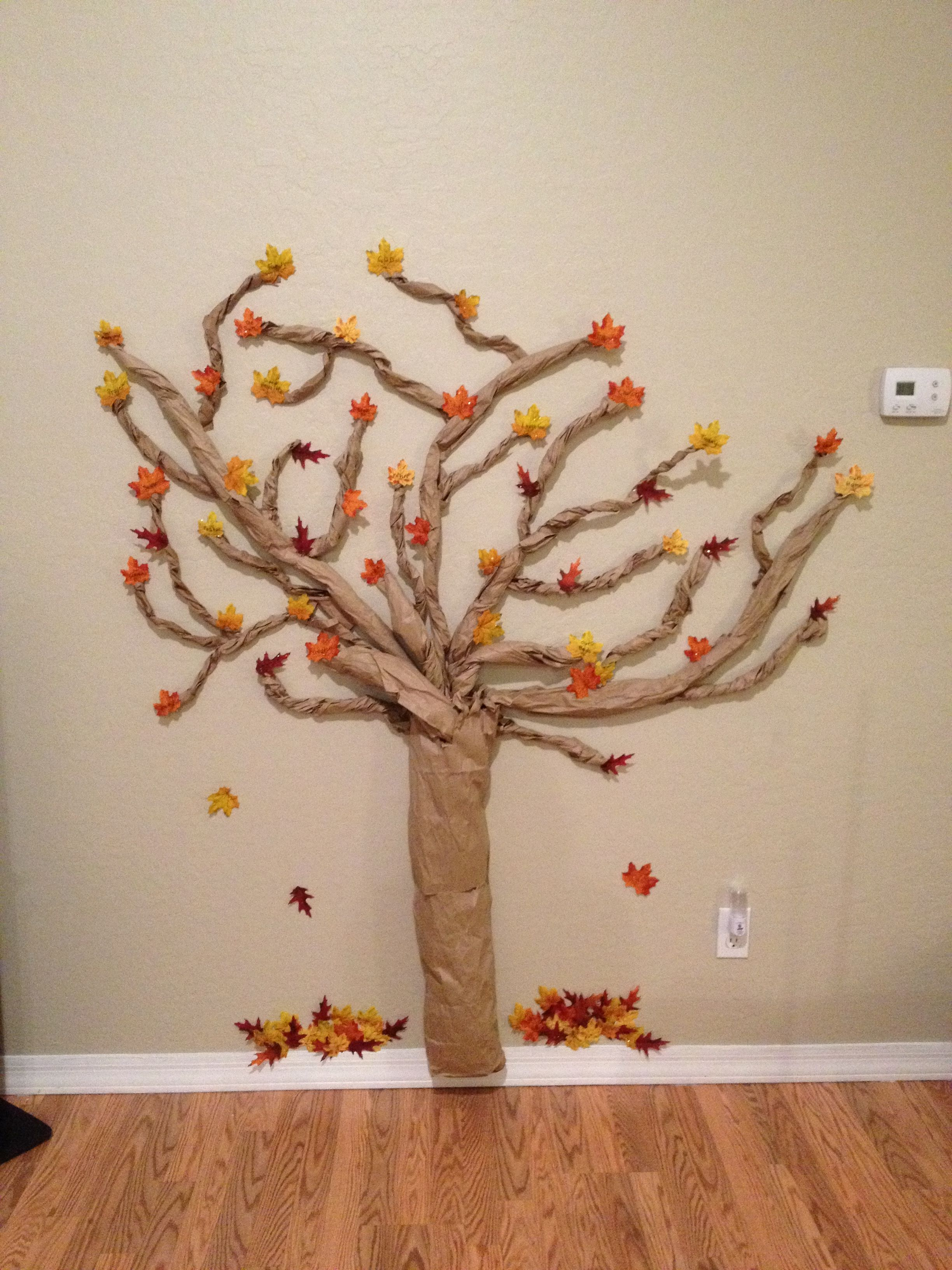 Every Year My Kids And I Make A Tree Out Of Paper Bags And Fake Fall Leaves On The The Leaves We Write Childrens Church Crafts Thanksgiving Tree Church Crafts