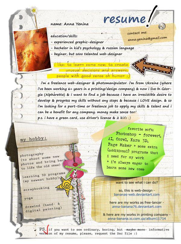 resume Design / Graphic Arts Pinterest Resume ideas, Business