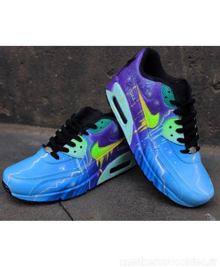 timeless design 60a08 eeb23 Original Chaussures Sport Nike Air Max 90 Candy Drip Bleu Violet Galaxy  Custom Pas Cher