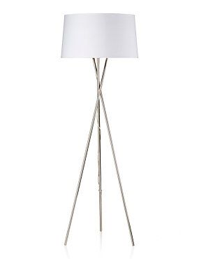 White Chrome Tripod Floor Lamp