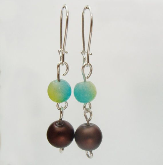 Bronze and Green Round Bead Earrings Matte by TheRaspberryBasket