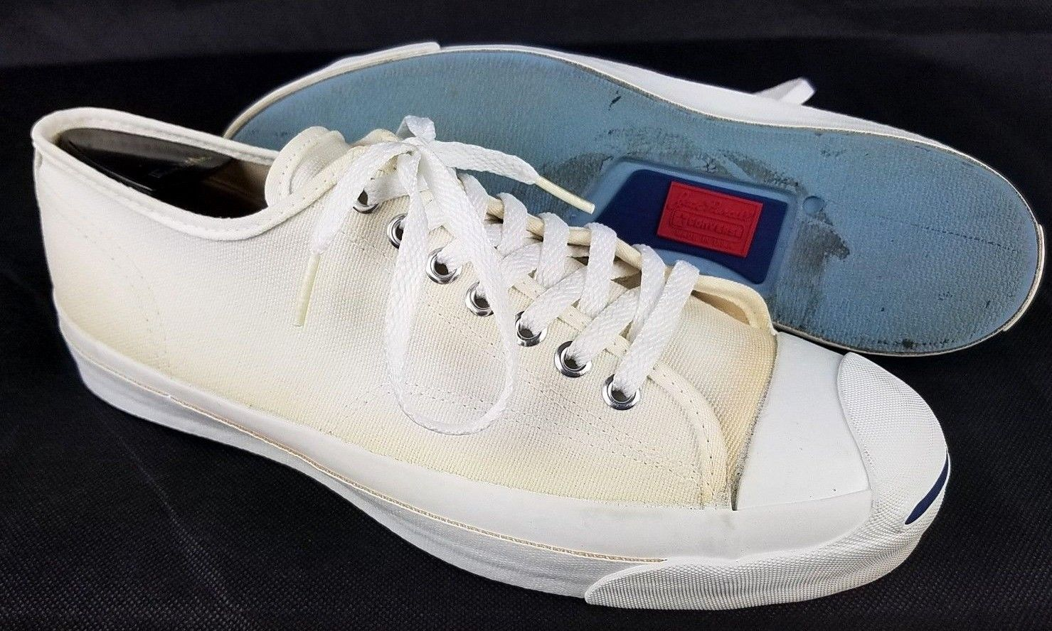 eb4fae1618aec3 Vtg JACK PURCELL Men s Size 9 Converse USA MADE Canvas Sneakers Shoes White  Canvas Sneakers