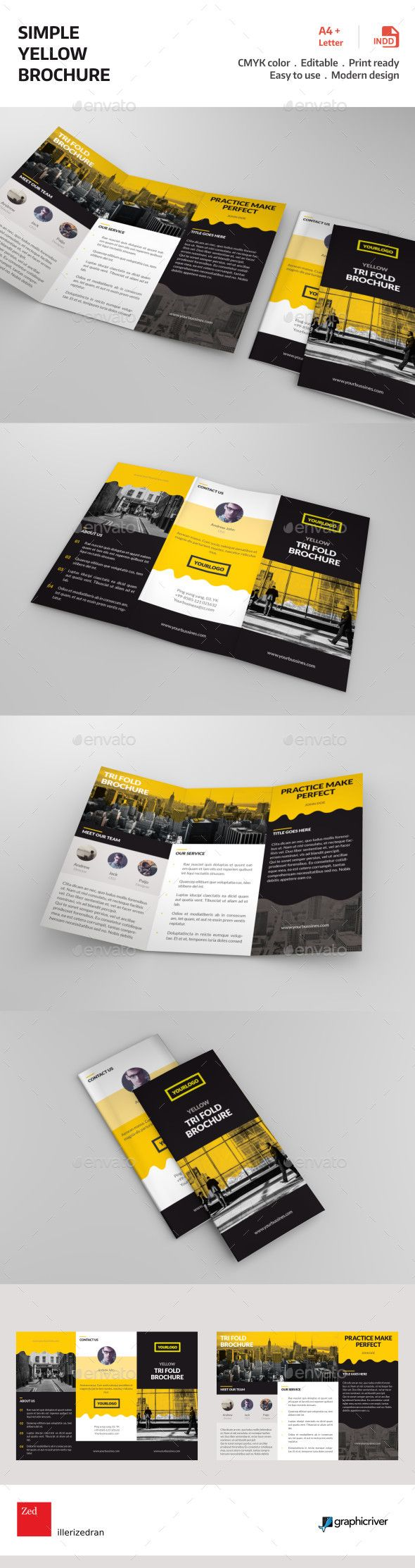 Simple Yellow Brochure | Brochures, Brochure template and Template