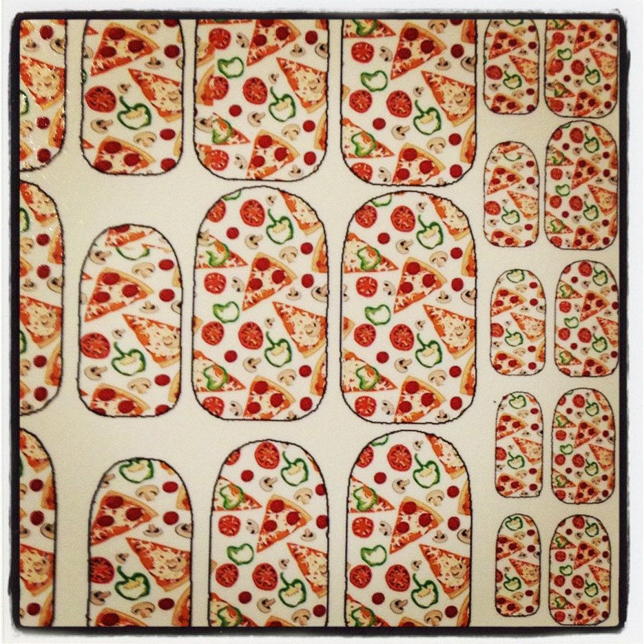 PIZZA PARTY NAILS fun water slide decals. $5.00, via Etsy.