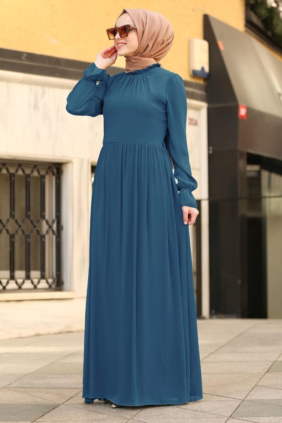 Photo of Nayla Collection – Belted Indigo Blue Islamic Dress 6125IM – Tesetturisland.com