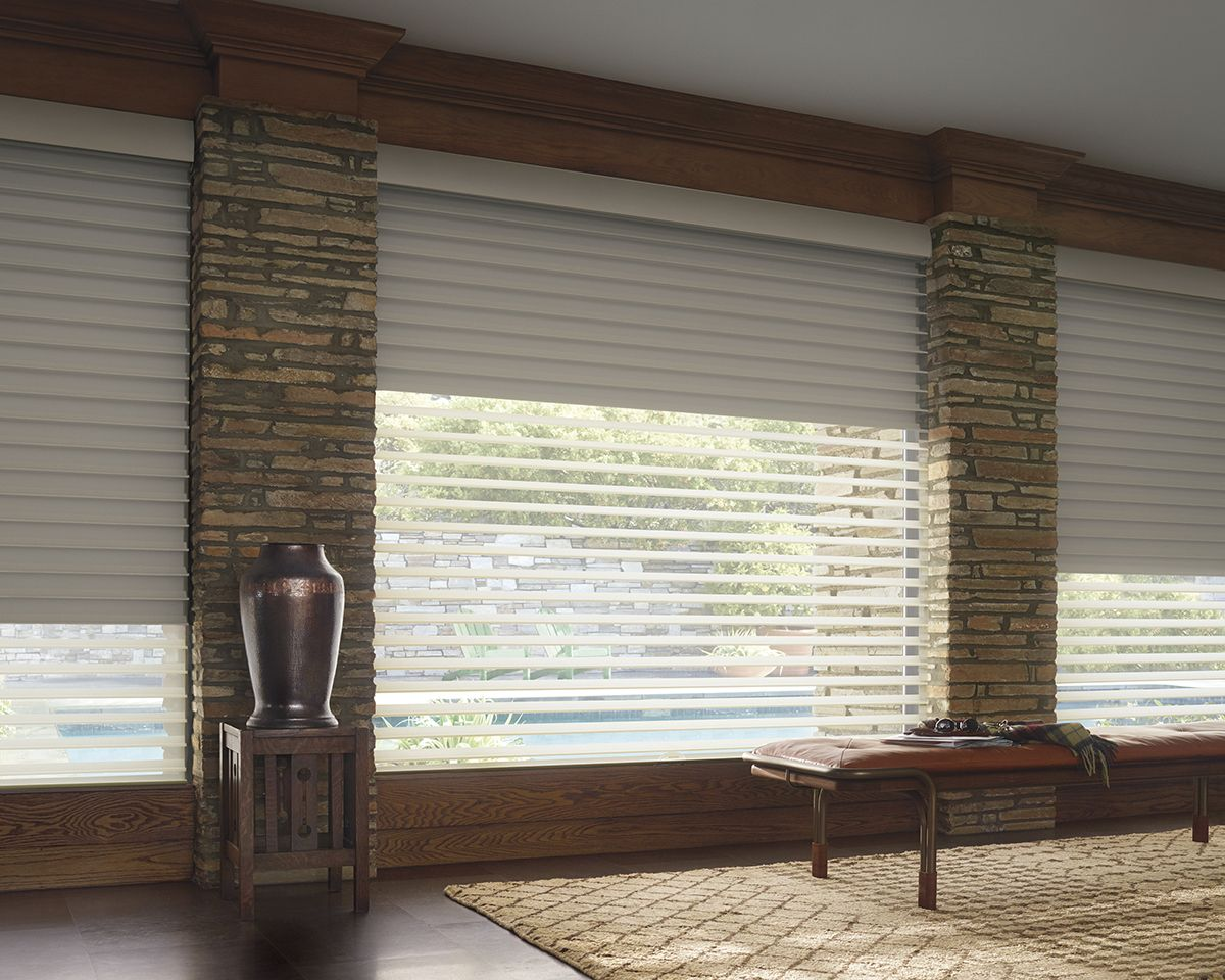 Exquisite Beauty Hunter Douglas Silhouette A Duex Window Shading With Room Darkening Roller Shade In Single Headrail Livingroom