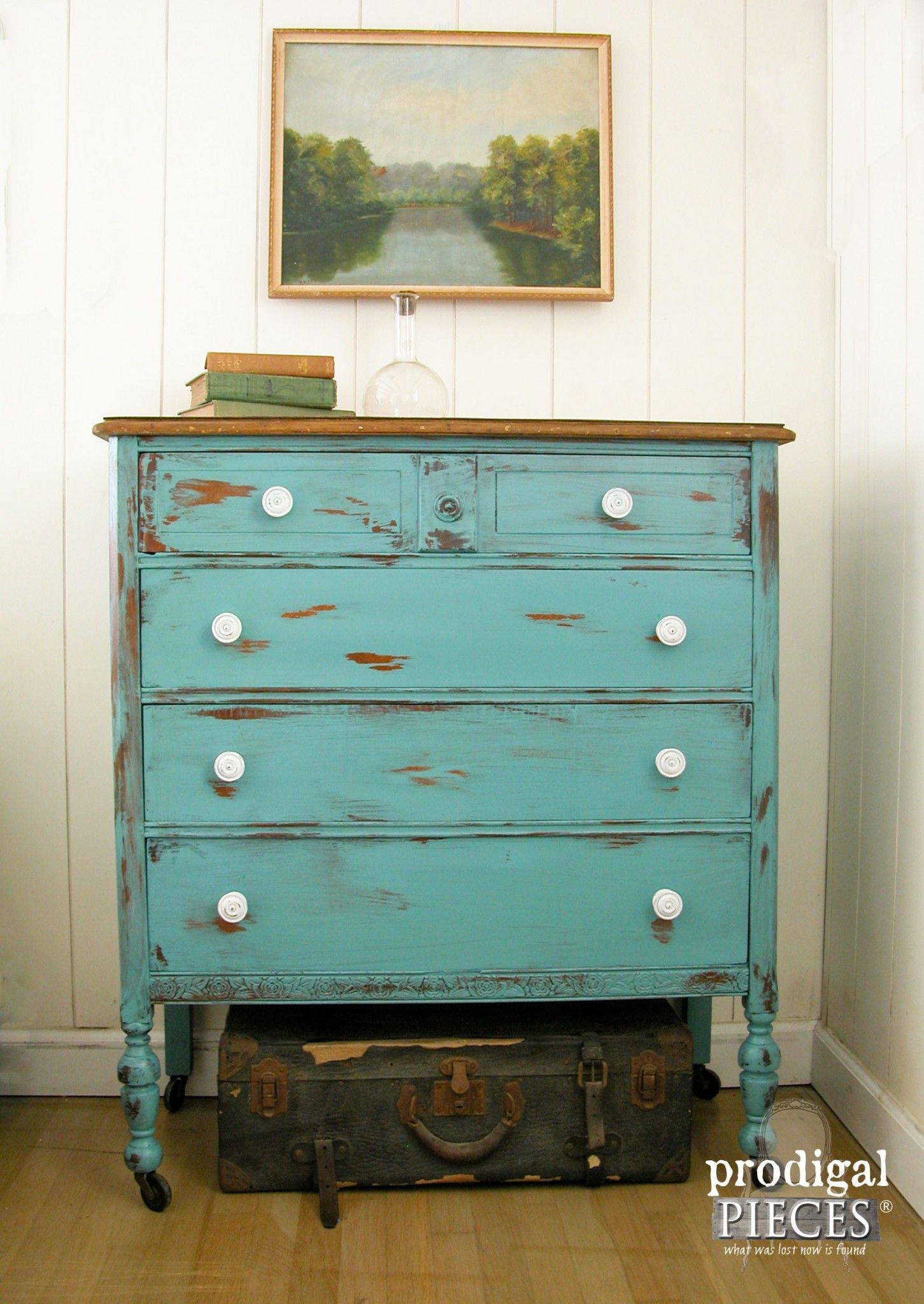 Get The Look Of Distressed Paint With Petroleum Jelly Aqua Teal Chest Drawers By Prodigal Pieces Www Prodigalpieces
