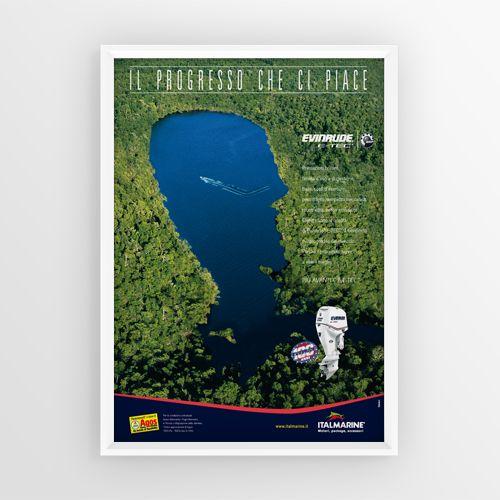"""Beautiful print advertising for Evinrude """"Il progresso che ci piace"""""""