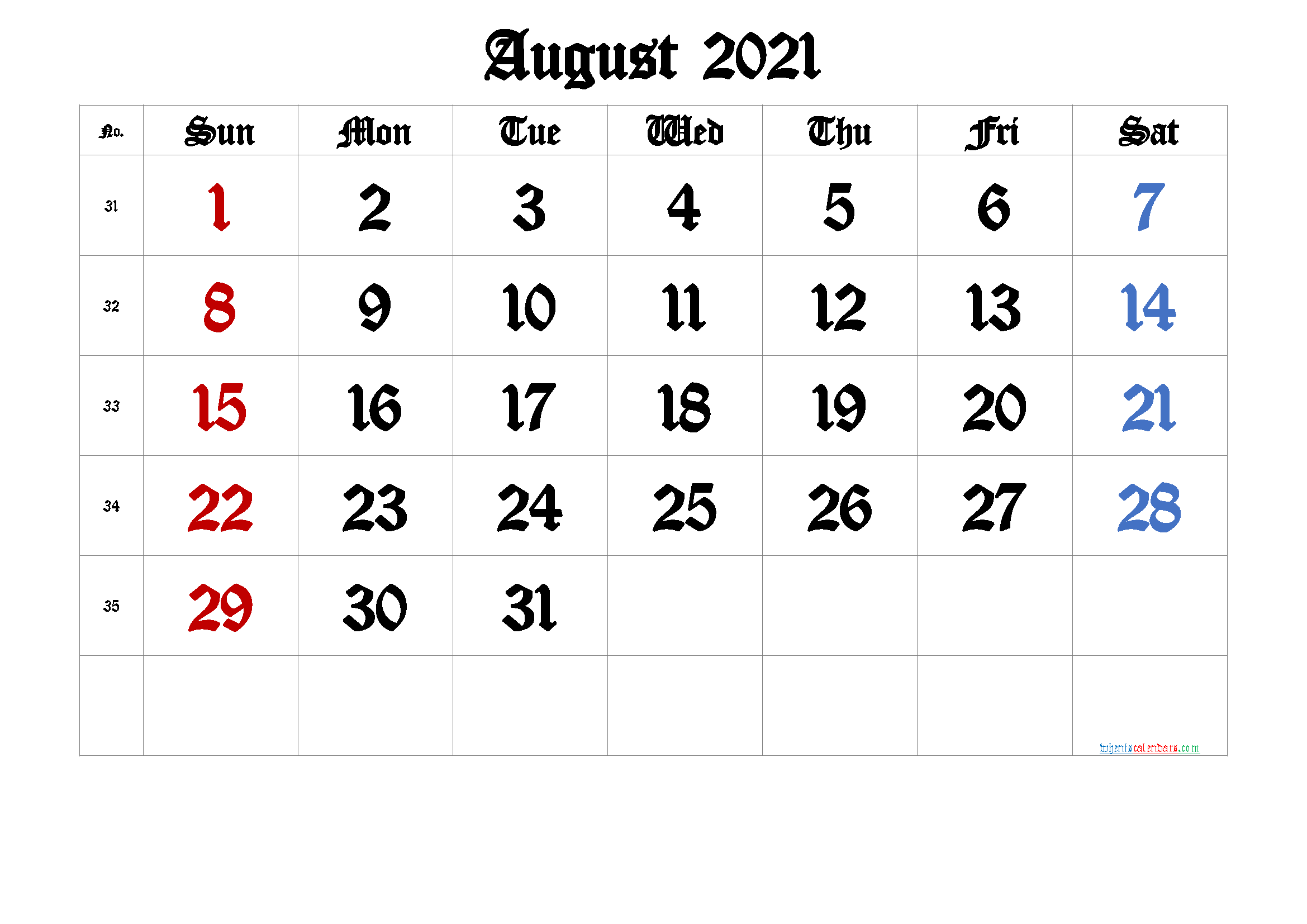 Free Printable August 2021 Calendar Premium In 2020 Calendar With Week Numbers Printable Calendar Template Free Printable Calendar