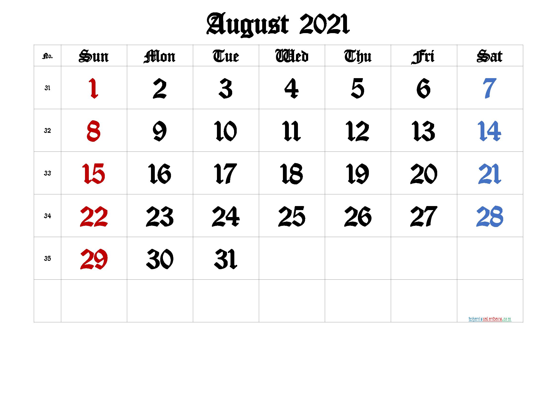 Free Printable August 2021 Calendar Premium In 2020 Calendar With Week Numbers Printable Calendar Template Free Printable Calendar