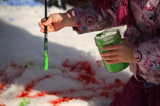 painting the snow - happy hooligans - paint the snow with kids' paint