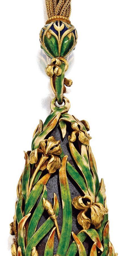 Art Nouveau - Pendentif 'Iris' - Or, Opale et Email -  Marcus & Co - Vers 1900